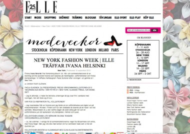 NEW YORK FASHION WEEK IVANA HELSINKI #ELLE SWEDEN