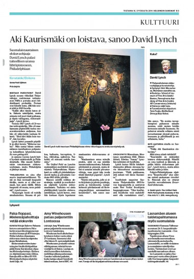 DAVID LYNCH - INTERVIEW #HELSINGIN-SANOMAT