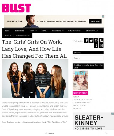 GIRLS INTERVIEW #BUST MAGAZINE LENA DUNHAM, JEMIMA KIRKE, ALLISON WILLIAMS, ZOSIA MAMET